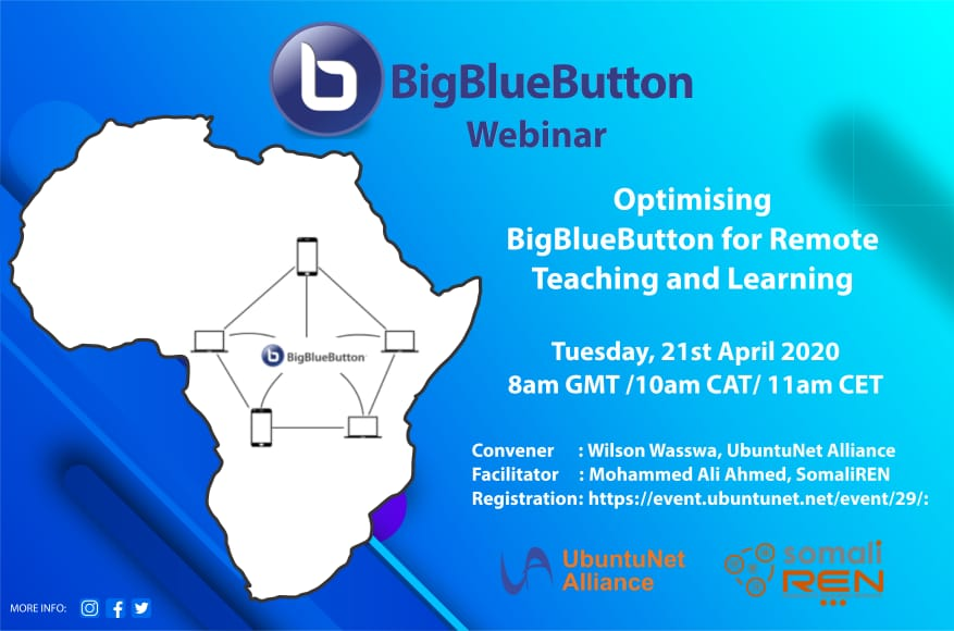 Register for the UbuntuNet Alliance, SomaliREN BigBlueButton Webinar
