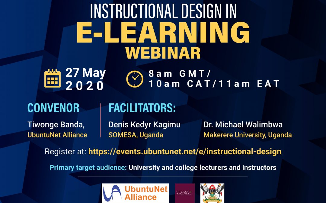 Register for the lecturers webinar on instructional design on E-Learning, 27 May, 2020