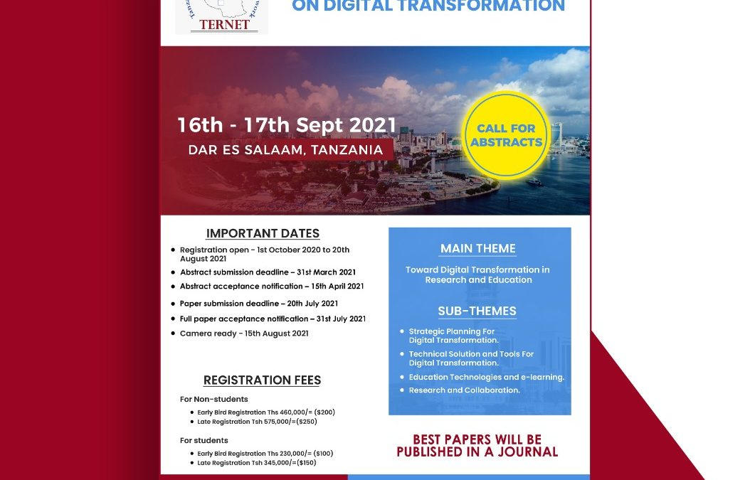 Submit an Abstract: TERNET 1st International Conference, 16-17 September 2021