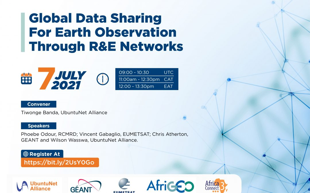 Register for the NRENs, Earth Observation Group Collaboration webinar, 7th July 2021, 9:00am UTC